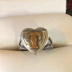 Vintage Sterling Initial T Ring